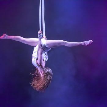spektakulärer Akrobatik am Vertikaltuch