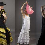 Tänzerin in verschiedenen Flamencokleidern in gelb-schwarz, weiß und schwarz.