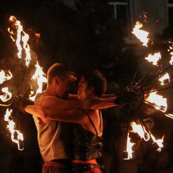 Feuershow aus Leipzig mit Fackeln