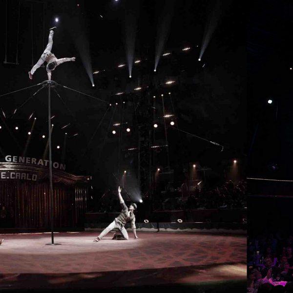 3 Akrobaten an einer Stange zum Zirkusfestival in Monte Carlo