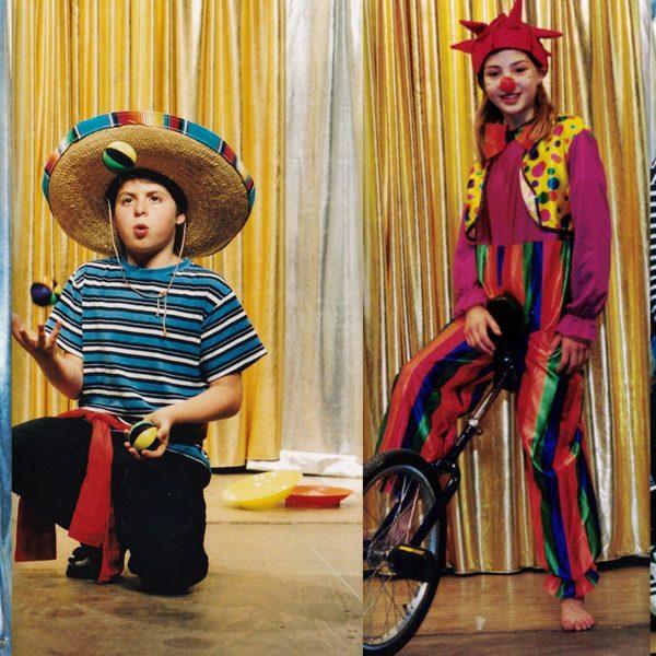 Collage der Zirkus Mitmachshow mit dem Zirkusdirektor und vielen Kindern..